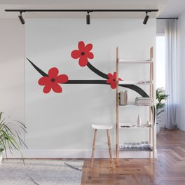 Beautiful Red and Black Japanese Cherry Blossom Flower Art Wall Mural