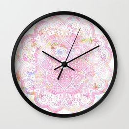 Pastel pink mandala ornament design Wall Clock