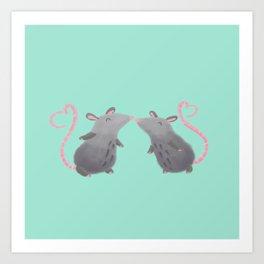 Kissing Mice Art Print