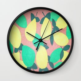 Lemony Fresh Citrus Pattern Wall Clock