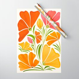 Spring Wildflowers / Floral Illustration Wrapping Paper
