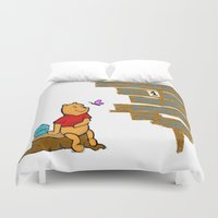 winnie the pooh Duvet Covers featuring Winnie The Pooh by LaLunaBee