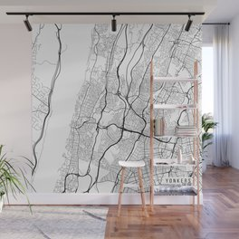 Yonkers Map, USA - Black and White Wall Mural