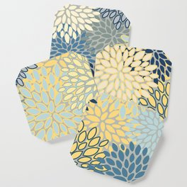 Floral Print, Yellow, Gray, Blue, Teal Coaster