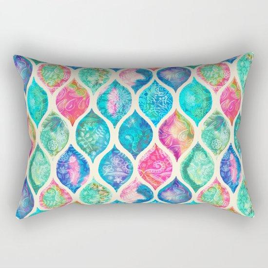 Watercolor Ogee Patchwork Pattern Rectangular Pillow