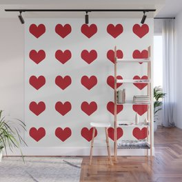 Hearts pattern red and white minimal modern essential valentines day gifts for anyone love Wall Mural