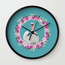 Swan and Roses Wall Clock