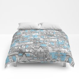 Paris toile cornflower blue Comforters
