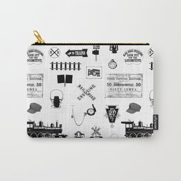 Railroad Symbols on White Carry-All Pouch