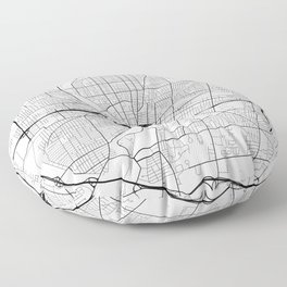 Rochester Map, USA - Black and White Floor Pillow