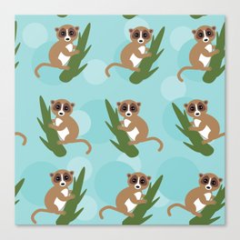 pattern - lemur on green branch on blue background Canvas Print