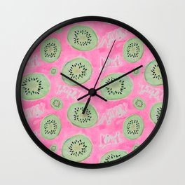 Watercolor Kiwi Slices in Neon Pink Punch Wall Clock