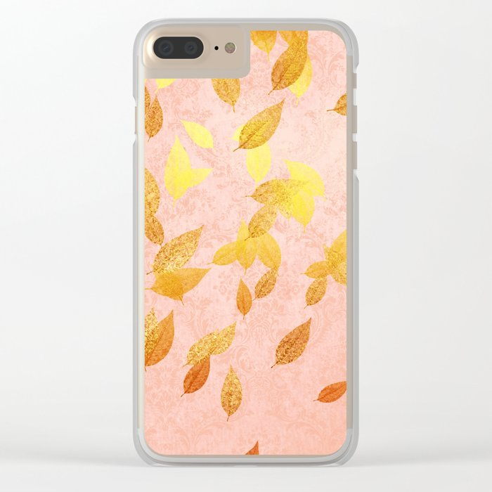Autumn-world 2 - gold glitter leaves on pink background Clear iPhone Case