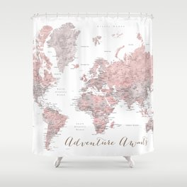 World map in dusty pink & grey watercolor, Adventure awaits Shower Curtain