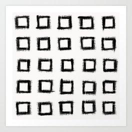 Square Stroke Dots Black and White Art Print