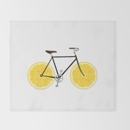 Lemon Bike Throw Blanket