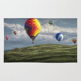 Hot Air Balloons over Green Fields Rug