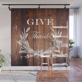 rustic western country barn wood farmhouse wheat wreath give thanks Wall Mural