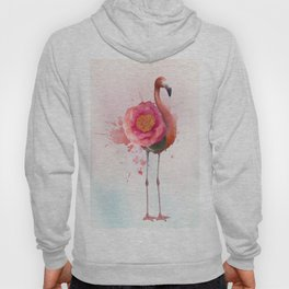 digital painting of Pink flamingo with flower Hoody