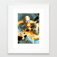 aang Framed Art Prints featuring Aang by Quirkilicious