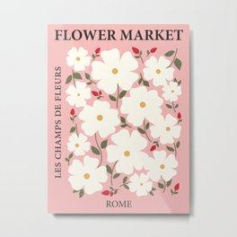 Flower market poster, Rome, Posters aesthetic, Pink flower art, Museum poster, Wild rose, Floral art Metal Print