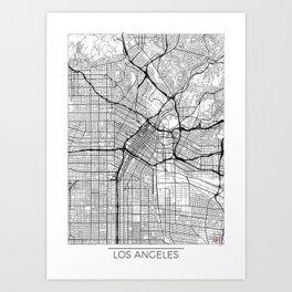 Los Angeles Map White Art Print
