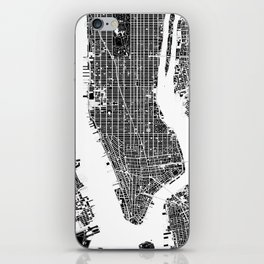 New York city map black and white iPhone Skin