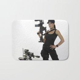 Swat Chick- Girl with SWAT Gear, Military Gun and Tactical Robot Bath Mat