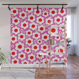 Pink Red White Pop Flowers Wall Mural
