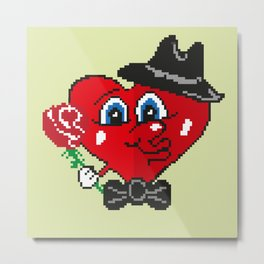Picture with heart and flower. Happy Valentine's day. Metal Print