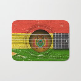 Old Vintage Acoustic Guitar with Bolivian Flag Bath Mat