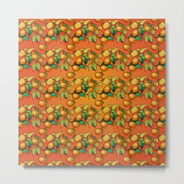 """Coral Sunset over Lemon tree Pattern"" Metal Print"