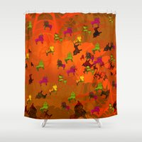 chicago bulls Shower Curtains featuring Dancing Bulls by Iconografico