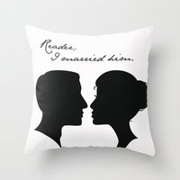 jane eyre Throw Pillows featuring Jane Eyre: Reader, I married him by AfterThisChapter