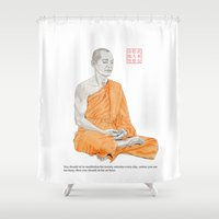 buddha Shower Curtains featuring Buddha by Bryan James