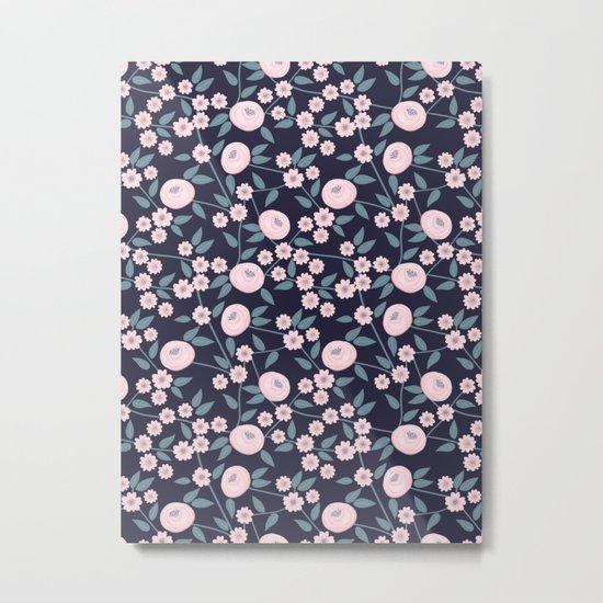 Little Flowers on Blue Metal Print
