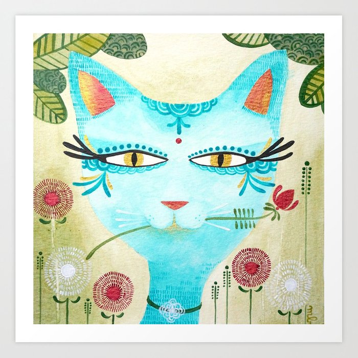 The Blue Cat & The Blossom - Hand-painted Illustration Art Print