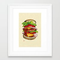 hamburger Framed Art Prints featuring Hamburger by aibo