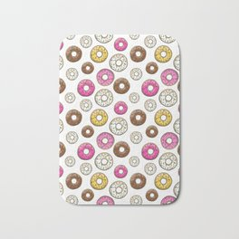 Donut Pattern - White Bath Mat
