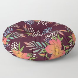 Red Floral Print Floor Pillow