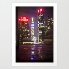 The Empire State Building on a Rainy Night Art Print