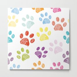 Colorful colored paw print background Metal Print