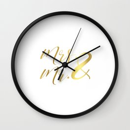 Mr Mrs Love Prints. Wedding Art Prints. Real Gold or Silver Foil Print. His and Hers Wall Art. Wall Clock
