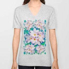 Plumeria Bouquet Exotic Summer Pattern Unisex V-Neck