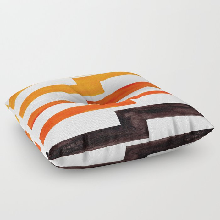Orange & Black Geometric Minimal Mid Century Modern Lightning Bolt Pattern Watercolor Art Floor Pillow