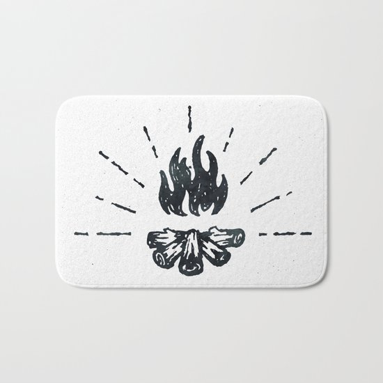Campfire Black and White Flames Vintage Bath Mat