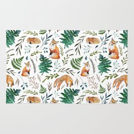 Foxes and Ferns Pattern Rug