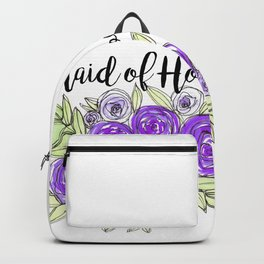 Maid Of Honor Wedding Bridal Purple Violet Lavender Roses Watercolor Backpack