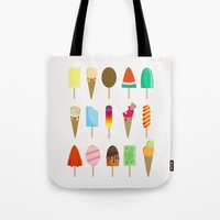 ice cream Tote Bags featuring Ice Cream by Céline Dscps