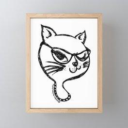 Winking Kitty Glasses Black Outline Framed Mini Art Print